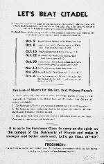 Poster announcing events for upcoming games for the 1936 University of Florida football season.