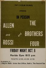 Poster advertising the appearance of Allen and Rossi and the Brothers Four at the Florida Gymasium on the University Florida campus.