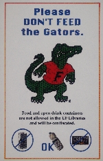 Please Don't Feed the Gators library poster.