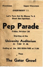 Poster for a Pep Parade before Gator Growl at the University of Florida Homecoming.