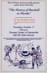 """Poster advertising Kevin McCarthy lecture on """"The History of Baseball in Florida."""""""