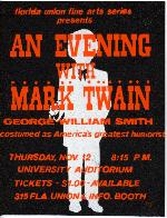 A poster for an Evening with Mark Twain sponsored by Florida Union Fine Arts Series at the University of Florida