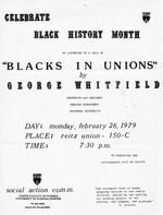 Poster to advertise a lecture for Black History Month at University of Florida, 1979.