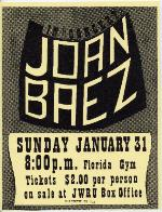 A poster for a concert by Joan Baez at Florida Gym on the University of Florida campus