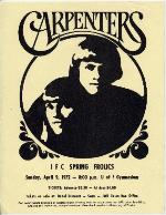 """An ad for the brother and sister singing team, the """"Carpenters"""", held at the IFC (Inter Fraternity Council) Spring Frolics"""