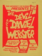 A post advertising the opera, The Devil and Daniel Webster, at University Auditorium on the University of Florida campus