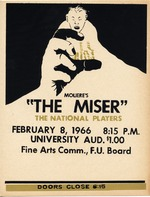 A poster for the play, Moliere's The Miser, performed by the National Players at the University of Florida