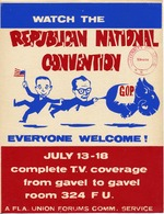 A poster announcing a TV watch party for the Republican National Convention