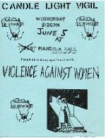 A poster for a Candle Light Vigil for violent against women on the University of Florida Campus