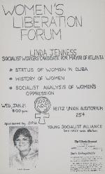 A poster for a Women's Liberation Forum speaker at the University of Florida