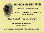 A poster for a University Convocation for Religion-in-Life Week on the University of Florida campus