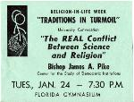 A poster for a Religion-in-Life Week lecture for Traditions in Turmoil at the University of Florida