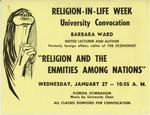 A poster announcing a Religion in Life Week Convocation: Barbara Ward speaking