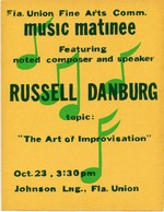 A poster announcing a musical matinee by Russell Danburg presented by the Florida Union Fine Arts Committee