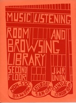 A poster about the Music Listening Room and Browsing Library in the Reitz Union