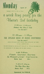 A poster announcing events in celebration of the 3rd birthday of the Reitz Union