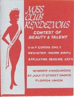 A poster announcing the Miss Club Rendezvous Contest of Beauty and Talent poster for a contest sponsored by the Florida Union.