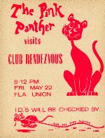 Pink Panther visits Club Rendezvous poster for dance at the Florida Union on the University of Florida campus