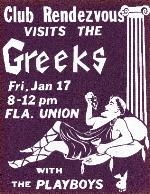 Club Rendezvous visits the Greeks poster for a dance at the Florida Union on the University of Florida campus