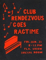 Club Rendezvous Goes Ragtime poster for dance at the Florida Union on the University of Florida campus