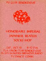Club Rendezvous Honorable Imperial Japanses Beatles 'Socki'-Hop poster for a dance at the Florida Union on the University of Florida campus