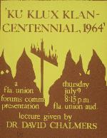 A poster announcing a lecture about the Ku Klux Klan at Florida Union