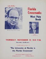 A poster announcing Florida Crossroads: West Palm Beach with Jules Feiffer and C. Harold Earnest