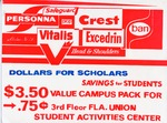A flyer for discounted products for students: Dollars For Scholars