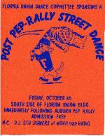 A flyer for a Post Pep Rally Street Dance at the University of Florida