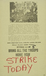 A flyer announcing a Student Mobilization Committee meeting and a call for a strike: U.S. Out of South East Asia Now