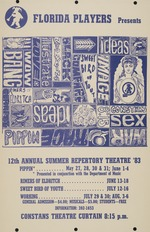Florida Players Presents poster for the 12th annual summer repertory theatre in 1983.