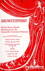 A poster for a Florida Players presentation, Showstoppers!, at the Constans Theatre at the University of Florida