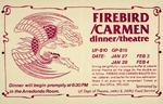 A poster advertising a cabaret at the J. Wayne Reitz Union presenting the Firebird/Carmen ballets