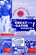 A poster for the Orange & Blue Spring Football Game and Great to be a Gator weekend
