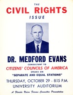 A poster for a lecture given by Dr. Medford Evans about the Civil Rights Issue (G-525)