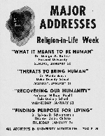 A poster advertising Major Addresses for Religion-in-Life Week at the University of Florida