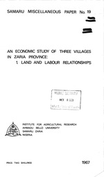 An economic study of three villages in Zaria Province