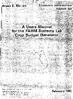 A users manual for the FARM Systems Lab crop budget generator