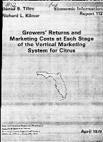 Growers' returns and marketing costs at each stage of the vertical marketing system for citrus