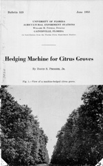 Hedging machine for citrus groves