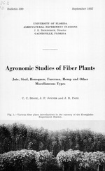 Agronomic studies of fiber plants