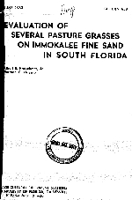 Evaluation of several pasture grasses on Immokalee fine sand in south Florida