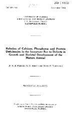 Relation of calcium, phosphorus and protein deficiencies in the immature rat to defects in growth and skeletal development of the mature animal