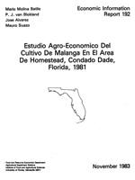 Estudio agro-economico del cultivo de malanga en el area de Homestead, Condado Dade, Florida, 1981