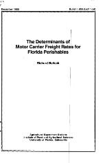The determinants of motor carrier freight rates for Florida perishables