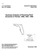 Business analysis of flowering plant nurseries in Florida, 1986, 1987, 1988