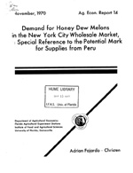 Demand for honey dew melons in the New York City wholesale market, with special reference to the potential market for supplies from Peru