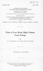 Tests of low head, high volume farm pumps