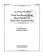 For Florida women: what you should know about Florida law when your husband dies