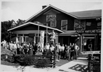 Alpha Tau Omega members in front of their house decorated for the 1938 University of Florida  homecoming